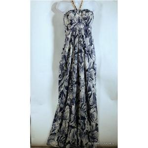 DONNA RICCO Classy muted Blue Silk HALTER Dress